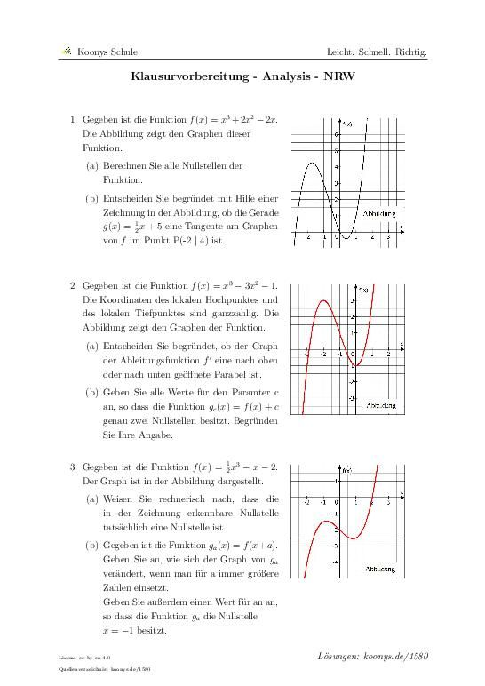 Klausurvorbereitung - Analysis - NRW   Aufgaben mit Lösungen und ...