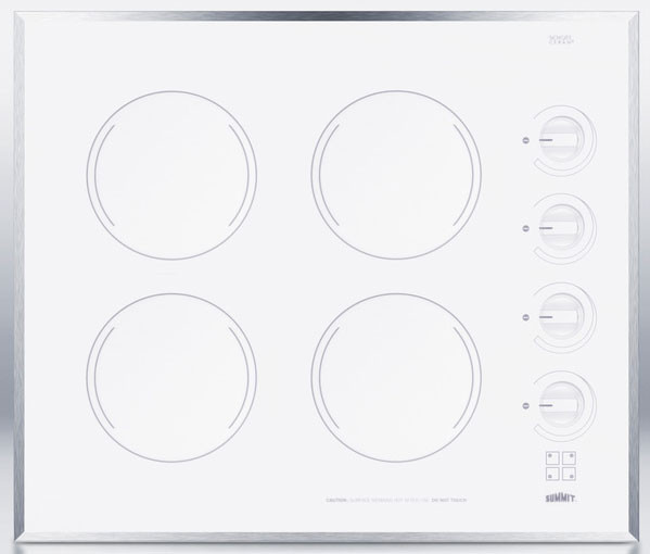 Summit Cr424wh 24 Inch Smoothtop Electric Cooktop With 4 Radiant E G O Elements Schott Ceran Surface Stainless Steel Trim Indicator Lights And Push To Turn Electric Cooktop Indicator Lights Schott