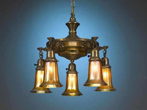 Antique lighting american art glass quezal chandelier m s rau antiques