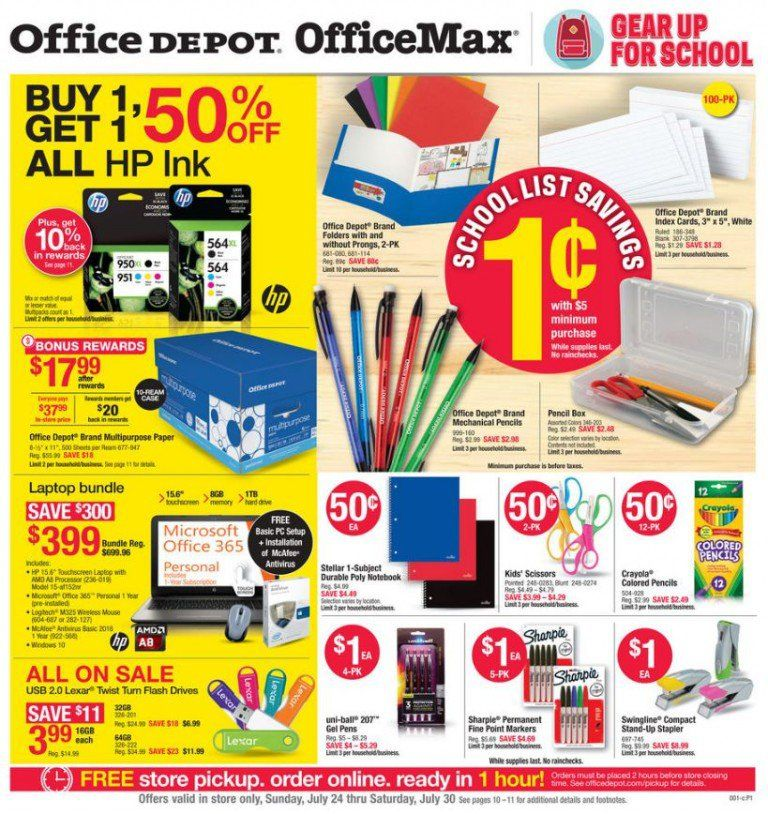 Here Are The Best Back To School Deals At Office Depot Officemax For Week Of July 24 2016 0 01 With A 5 Minimum Purchase 2