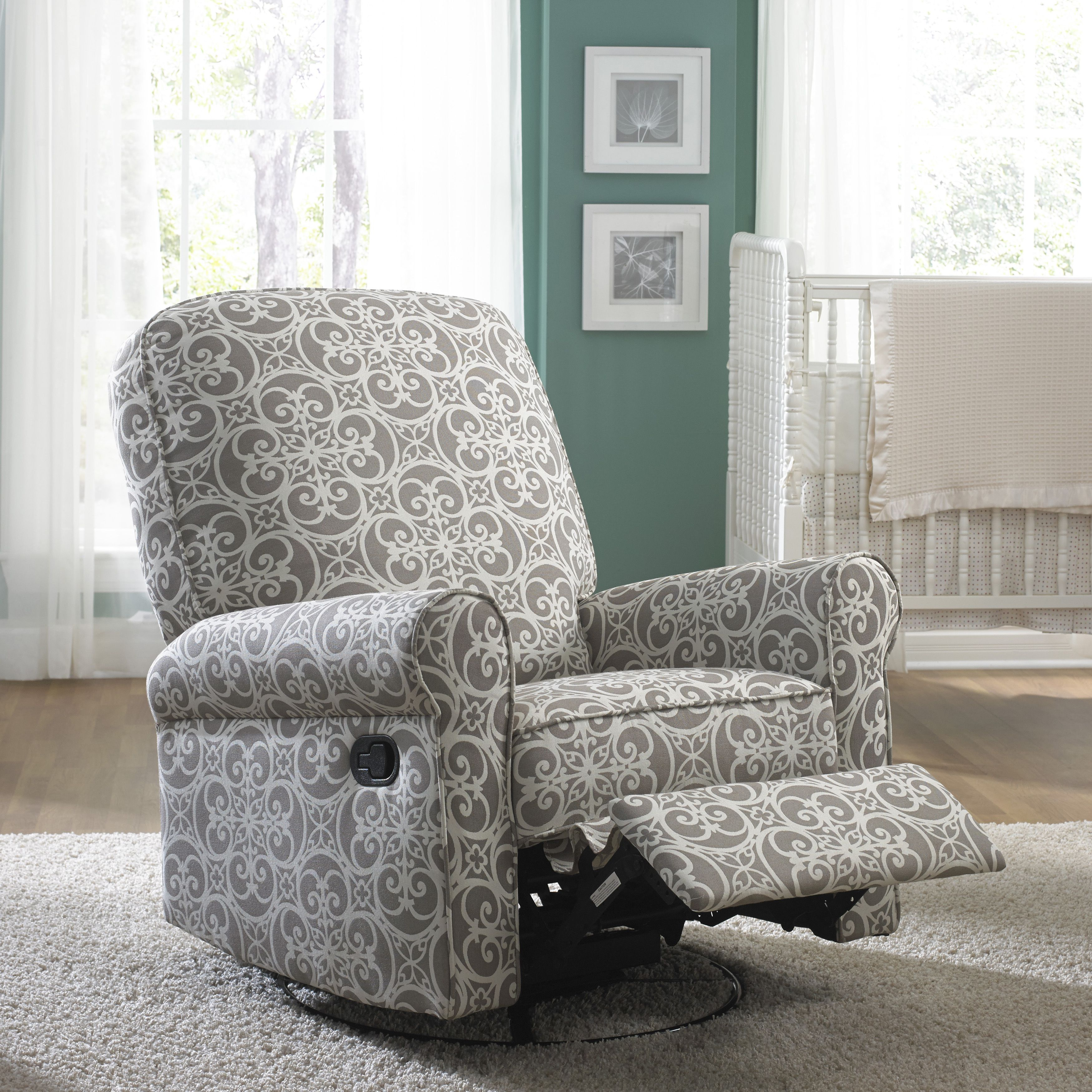 Glider Recliner Chair Blue Chairs Resort By The Sea Jackson Grey And Cream Fabric Nursery Swivel Size Oversized