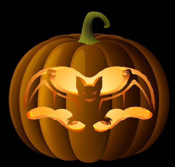 Spooky bat pumpkin carving pattern for Spooky owl pumpkin stencil