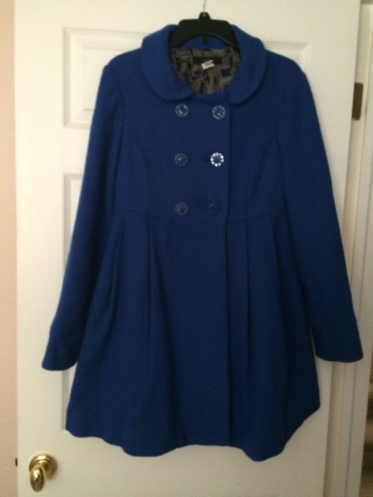 Blue Wool Poly Lined Coat Medium by Lux w Pockets Excellent Condition | eBay