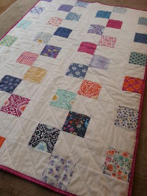 uses one charm pack plus 1.5 yards of fabric. Makes a 59X42.5 quilt this is the link for the pattern http://www.westseattlefabriccompany.com/blogs/check-mate/13302801-check-mate-2-step-quilt#.VOkCloeJmFJ