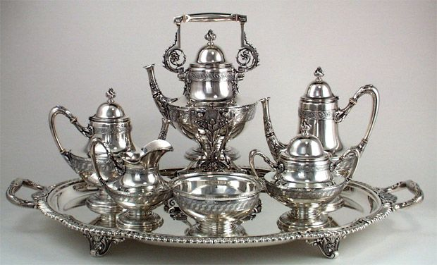 Extremely Rare and Fine Tiffany Antique Sterling Silver 6 Piece Coffee and Tea Service, Edward C. Moore, c. 1870-5, in Original Union Square...