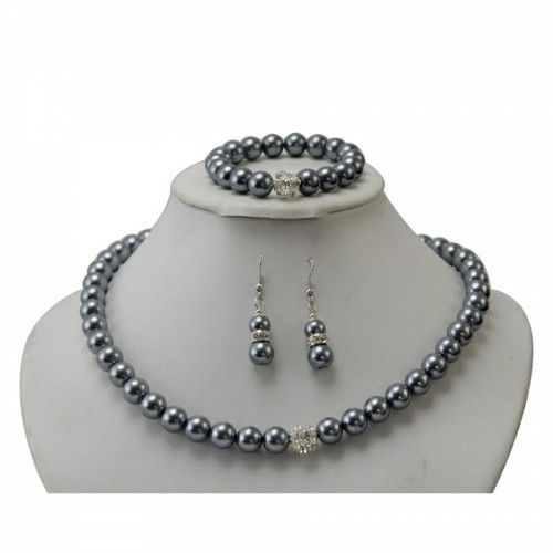 clickbazaar - Popular Grey Pearl Crystal Ball Adornment Necklace Set