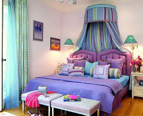 Blue purple green bedroom colorful fairytale fantasy - Blue and purple bedroom curtains ...