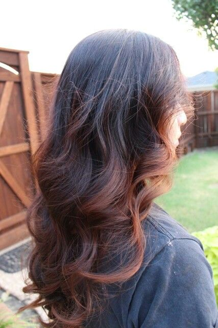 Balayage/ombre combination, golden brown with red undertones (My hair)