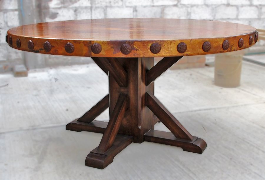Round Copper Top Dining Table 60 With Concha Rivet Adornment Mounted On Rustic Wood Pedestal Base