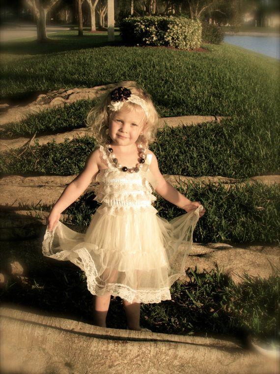 Lace Dress Rustic Flower Girl Dress Ivory Dress by KendallsKlozet