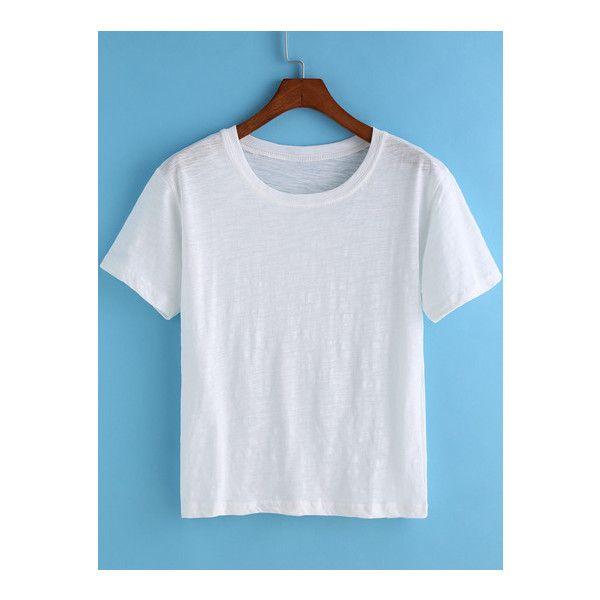 43da6f5a19 SheIn(sheinside) White Round Neck Short Sleeve Crop T-Shirt ($7.99 ...