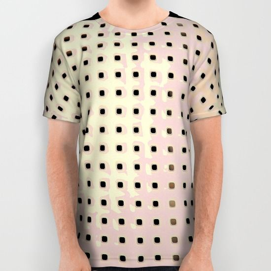 This pattern is abstract, a grid pattern made from an original photograph of the back of a chair. Dark gray and brown square dots in rows form the grid. The rows curve slightly as the chair does. Up close, the little square dots are holes with rounded corners and a shadow dimension around the upper and right hand edges.