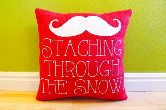 """Staching Through the Snow"" Pillow by Ander's Attic on Etsy"