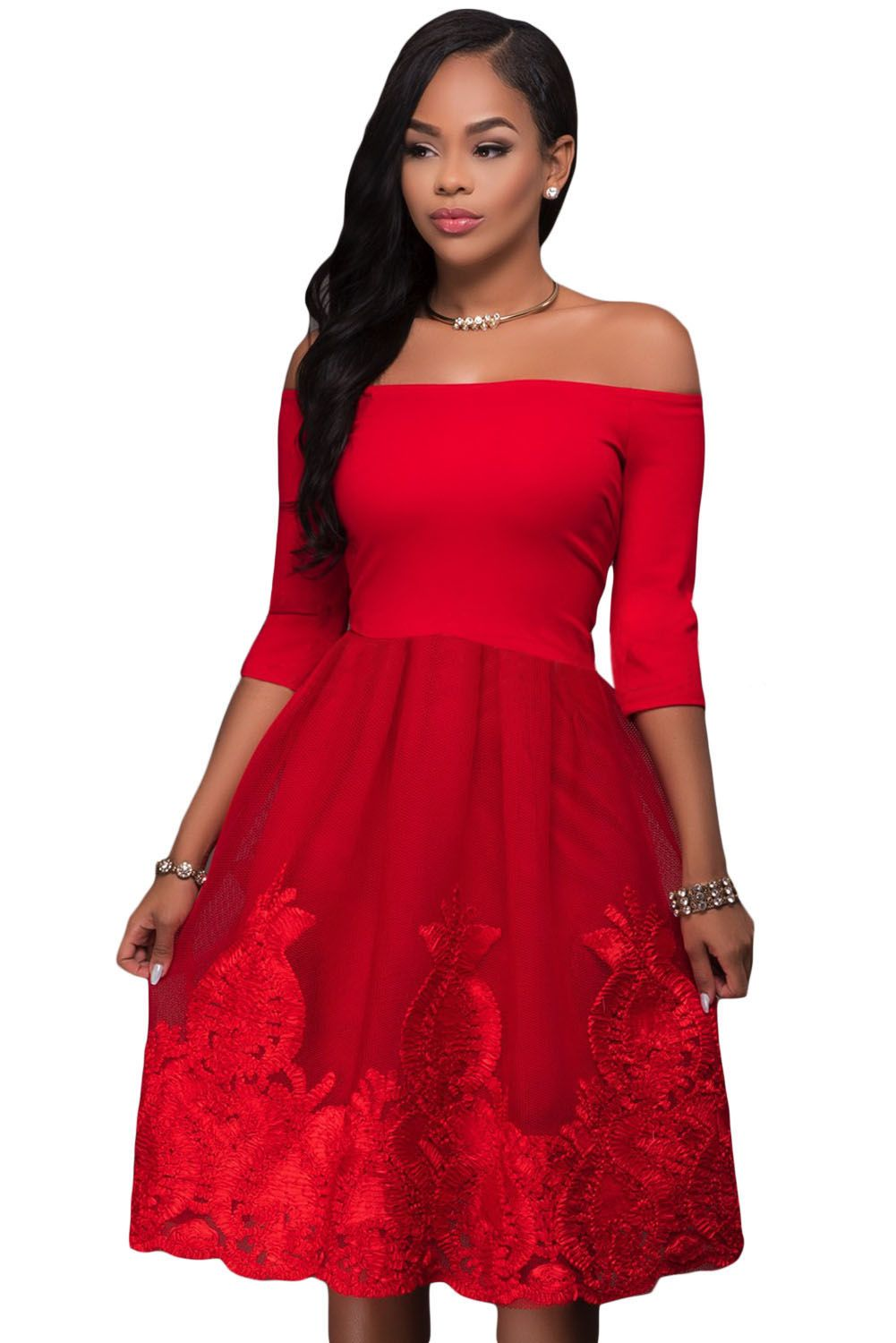 2df19a572d9 Hot Red Lacy Embroidery Tulle Skirt Skater Dress