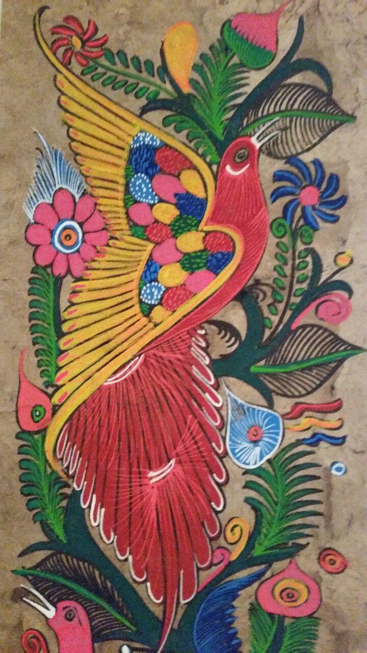 Ave, pintura en papel amate / art, painting, mexican art, folk ...