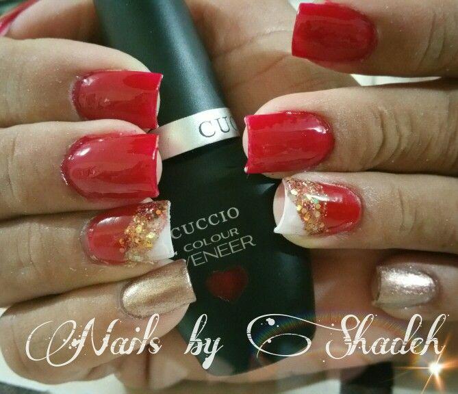 Beautiful red nails with Cuccio Colour Veneer...a kiss in paris ...