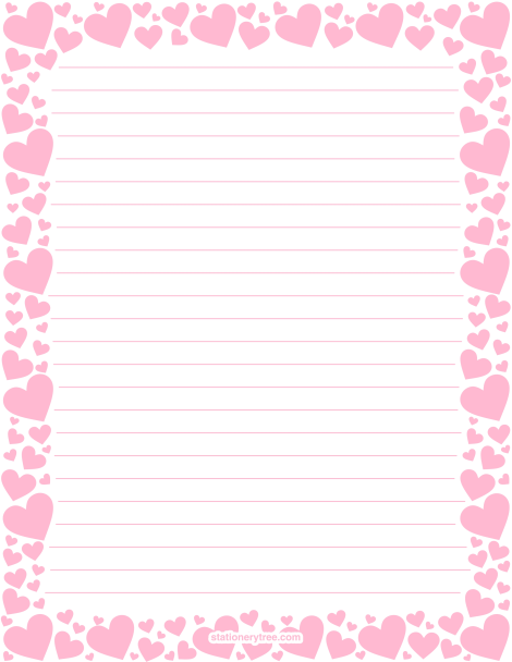 Printable Pink Heart Stationery And Writing Paper Multiple Versions Available With Or Without Lines