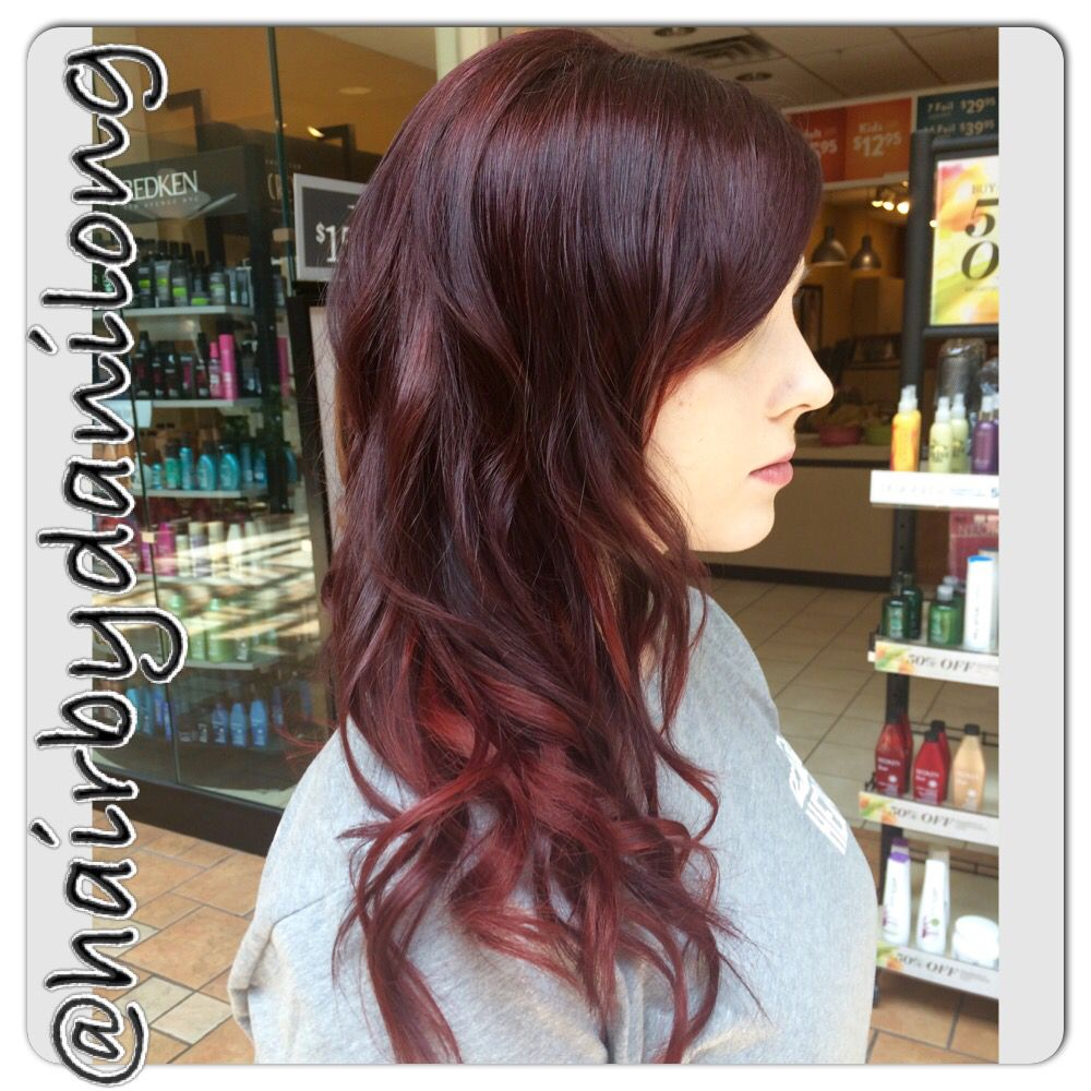 Red Violet With Vibrant Red Peek A Boo Highlights Hair Color Long Layered Haircut Orem Ut Dani
