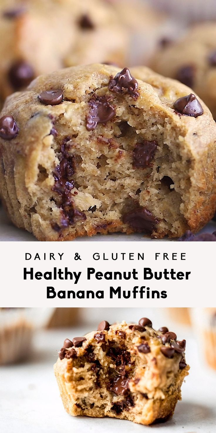 Healthy Peanut Butter Banana Muffins The BEST peanut butter banana muffins that are packed with protein and peanut butter flavor. Naturally sweetened with pure maple syrup, gluten free thanks to oat flour and a great on-the-go healthy breakfast or snack. Try them with mini chocolate chips!