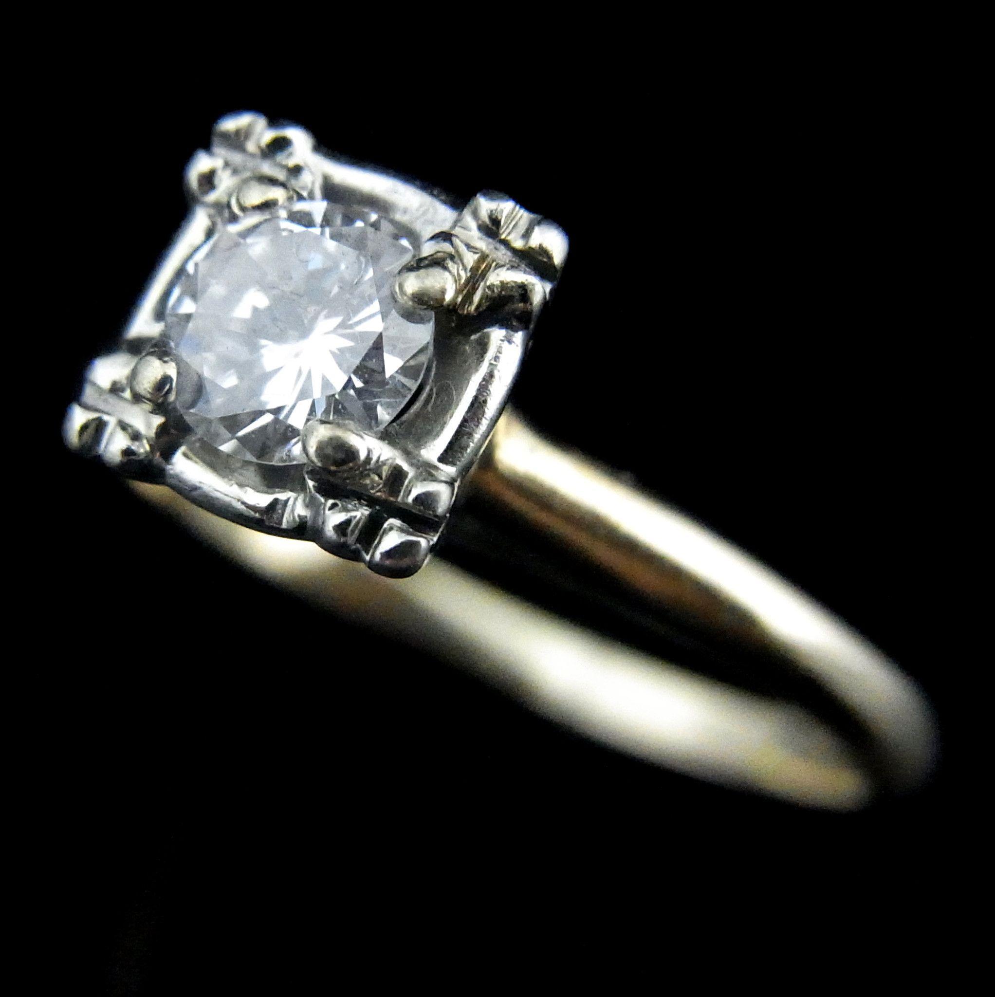 Mid Century Diamond 14k White Yellow Gold Engagement