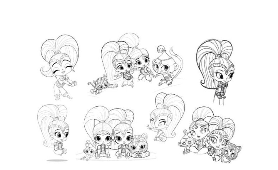 Shimmer and Shine behind the scenes artwork from the show's creator Farnaz Esnaashari-Charmatz!