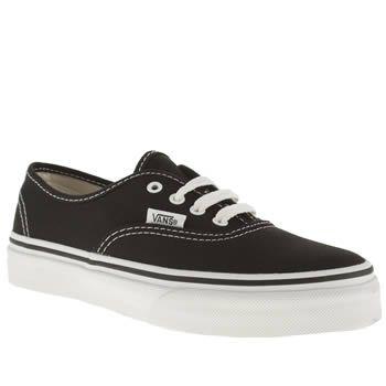 Junior Black \u0026 White Vans Authentic at