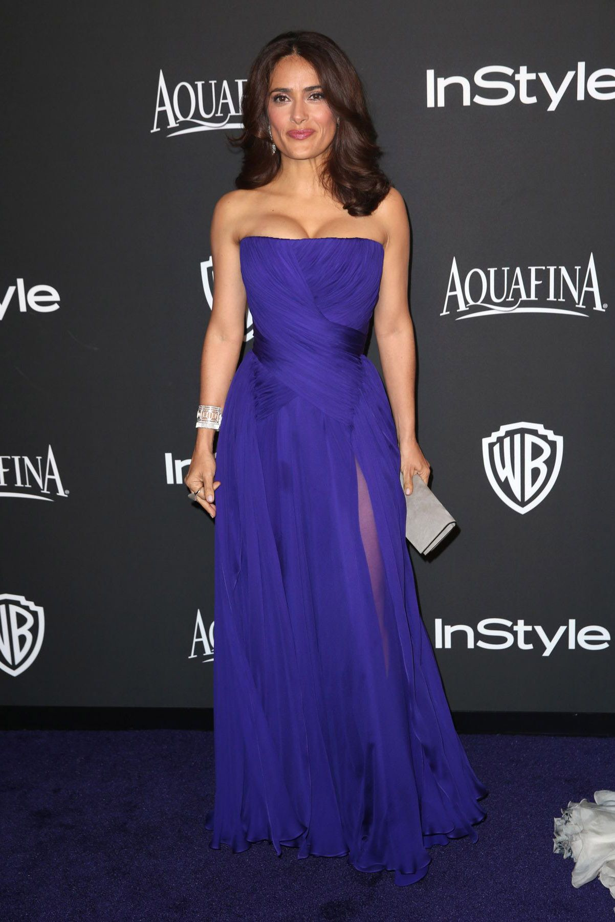 Salma hayek royal blue evening gown instyle and warner bros