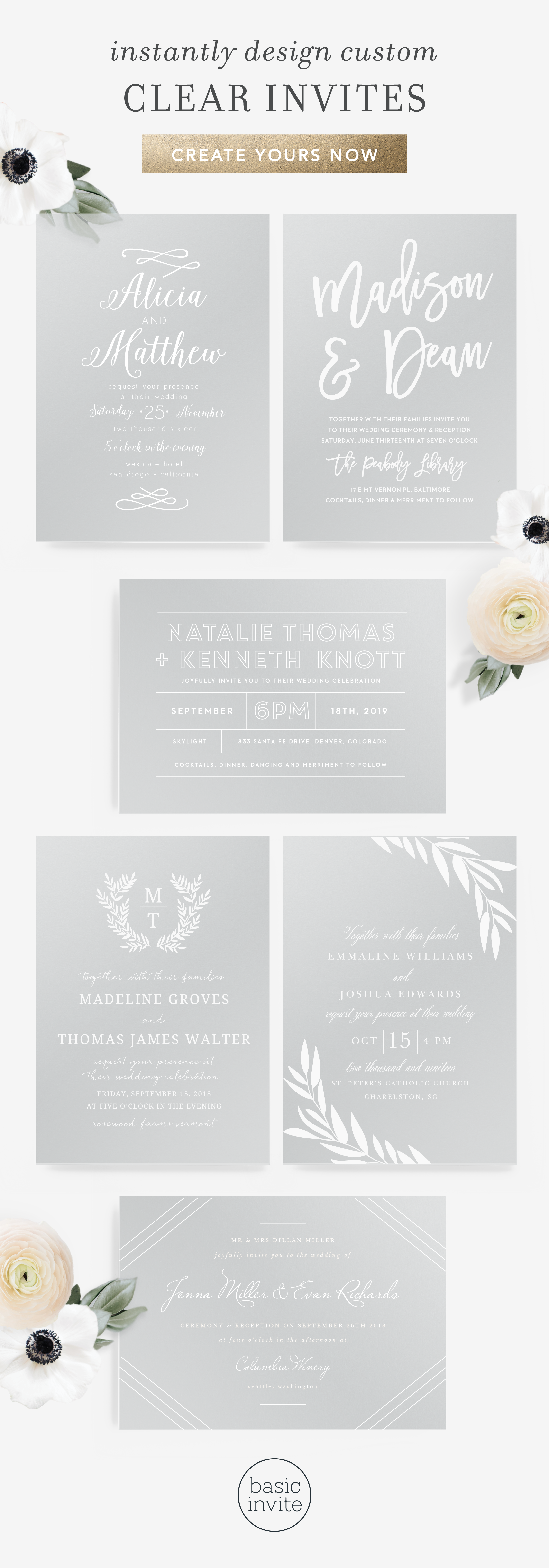 New Clear Wedding Invitations Free Guest Address Envelope Printing With Every Order Clear Wedding Invitations Wedding Invitations Wedding Reception Locations