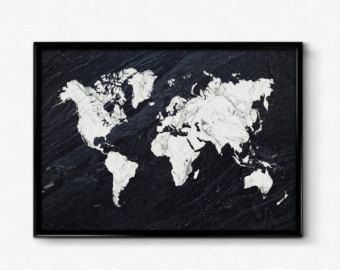 Black marble world map print world map wall art marble print black marble world map print world map wall art marble print black and gumiabroncs Gallery