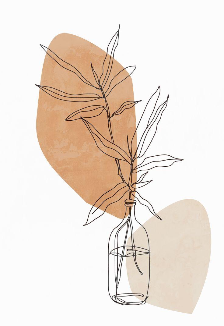 Modern minimalist line drawing plant print, botanical poster, minimalist wall art, abstract art print, bedroom wall art, printable wall art