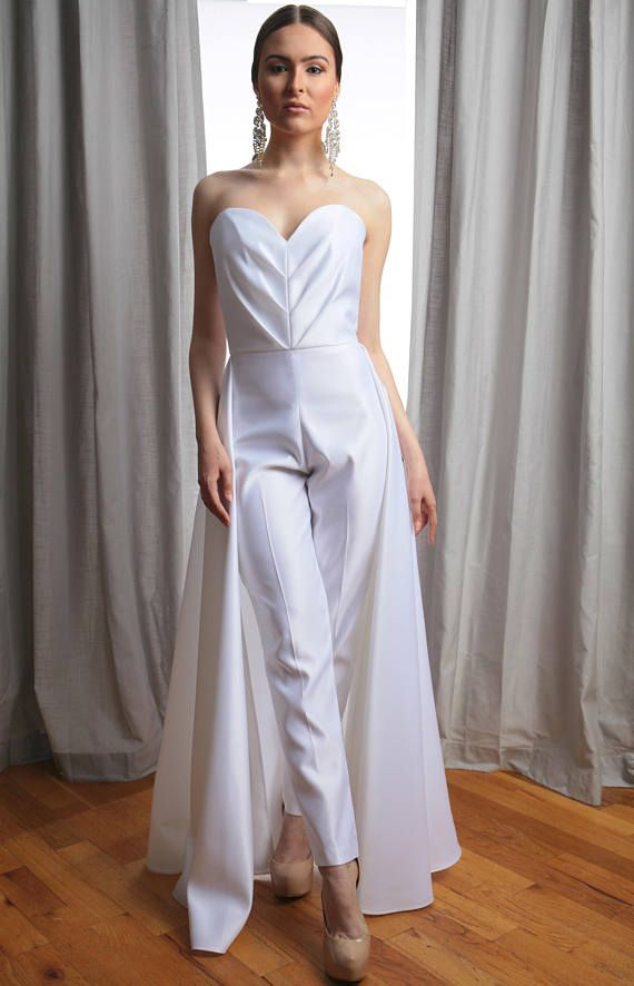 Vivian Pleated Sweetheart Strapless Bridal Jumpsuit | Androgynous ...