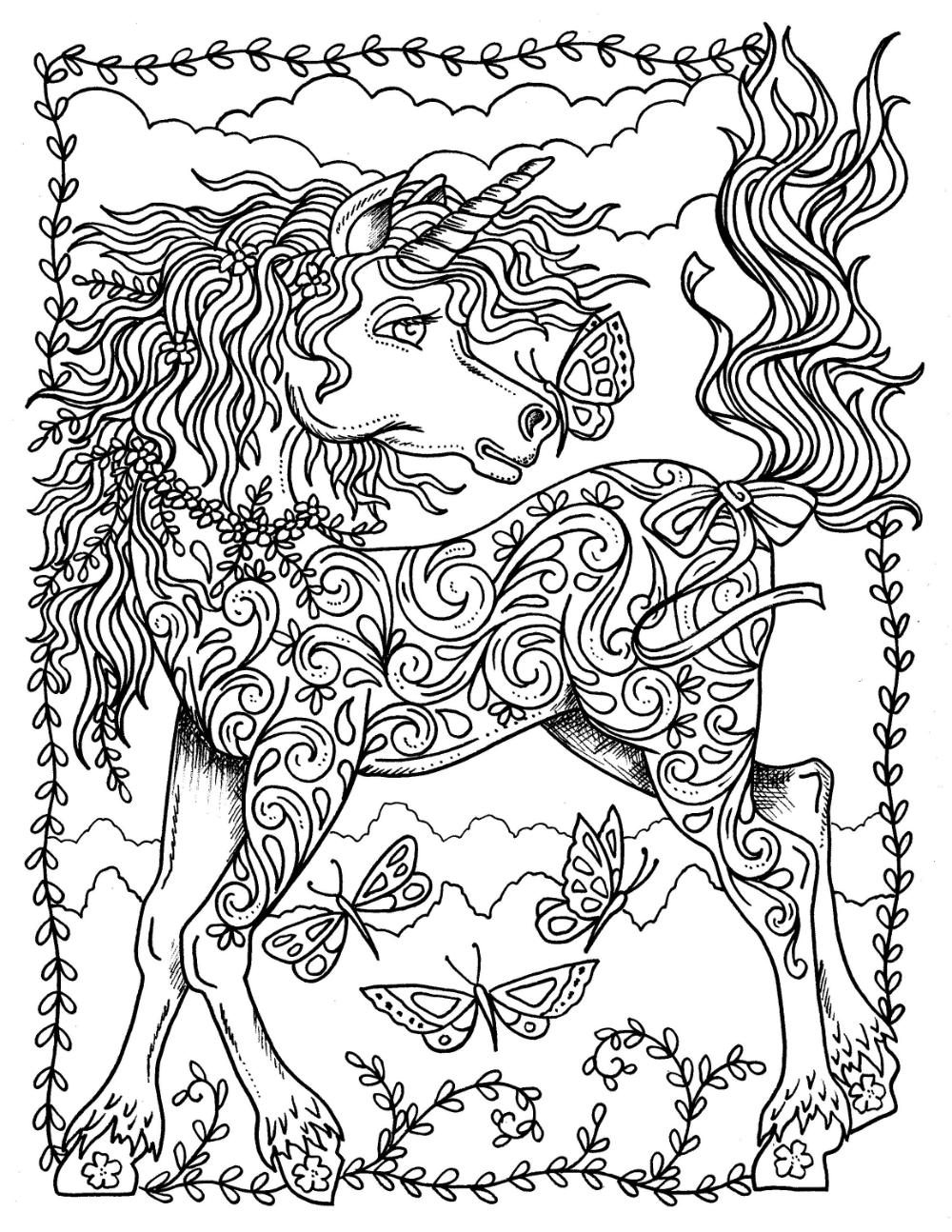 Digital Coloring Book Unicorn Dreams Magical Fantasy Etsy Unicorn Coloring Pages Coloring Books Horse Coloring Books