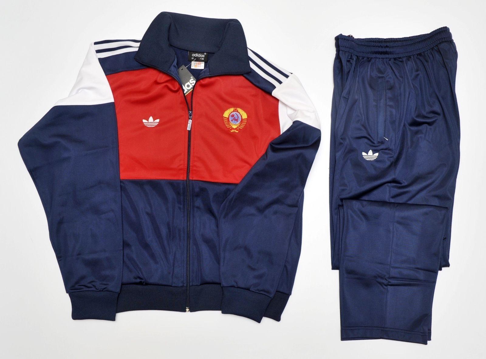 d4e057c58979 Adidas tracksuit new vintage retro old school pants jacket 80 cccp ussr. L  - XL