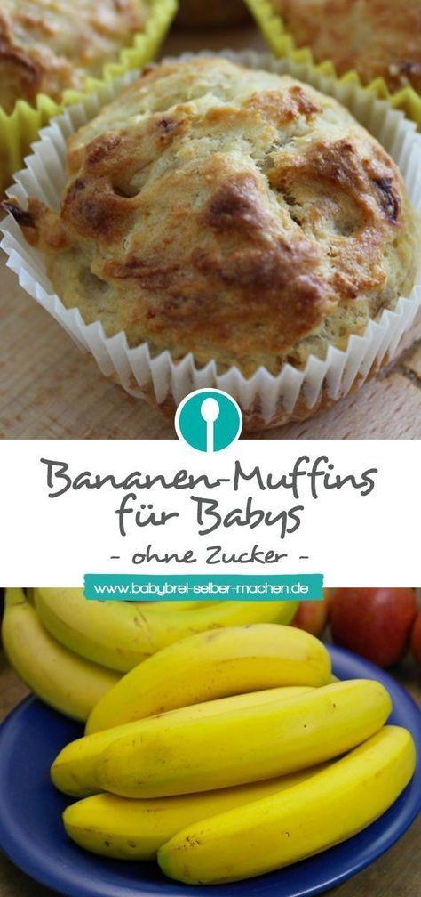 Bananenmuffins für Babys und Kleinkinder (ohne Zucker) ab 8 Monaten #menus