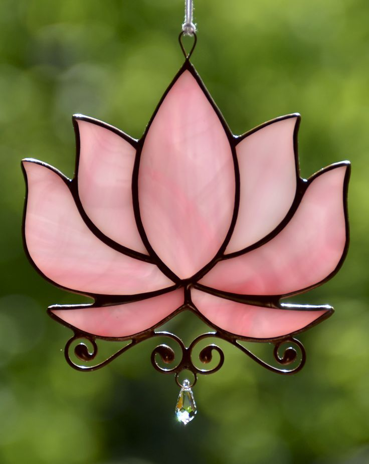Stained glass window hanging, lotus flower, crystal suncatcher, waterlily decoration, Tiffany art