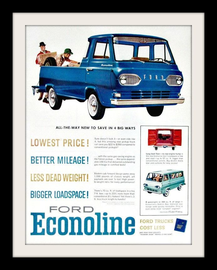 b96aea8e57c3c2 Original 1960 advertisement for Ford Econoline. Art print ad of the new Econoline  Pickup in blue