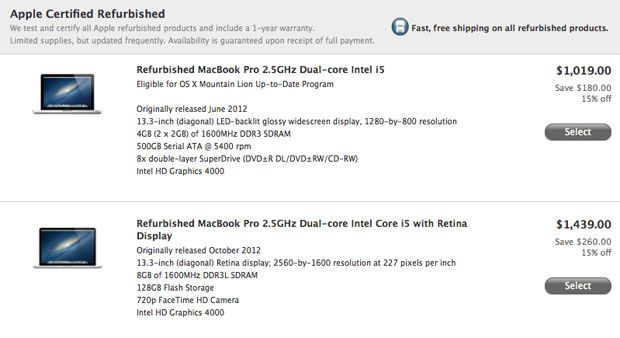 Apple adds refurbished 13-inch MacBook Pro to online store, Retina model starting at $1,439 -  Its been nearly two weeks since Apple made its 15-inch next-generation MacBook Pro available as a refurb and now the 13-inch models ready to follow suit. Listed on the companys online storefront today, iFans averse to full retail pricing can now snag the base model with a... - http://technologycompanieslist.com/apple-adds-refurbished-13-inch-macbook-pro-to-onlin