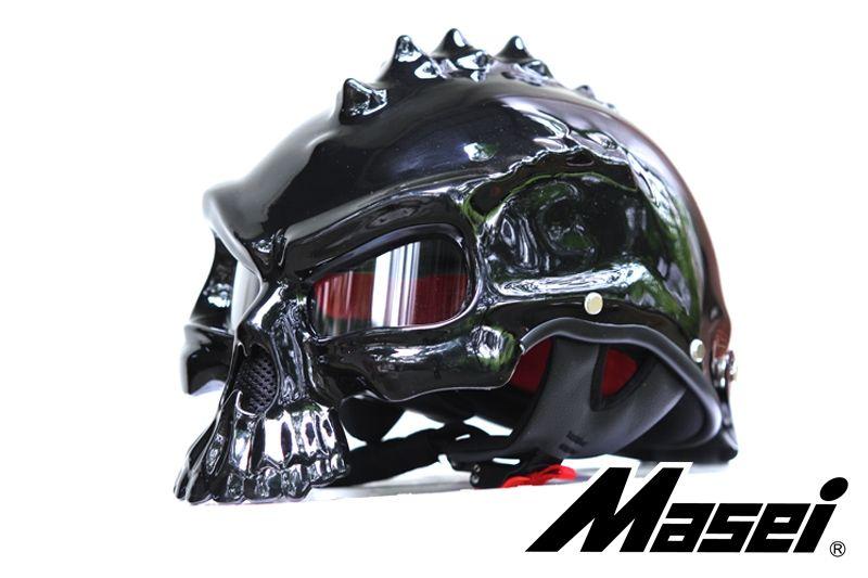 MASEI GLOSS BLACK SKULL 489 MOTORCYCLE CHOPPER HELMET FOR HARLEY DAVIDSON BIKER - sales@maseihelmets.com
