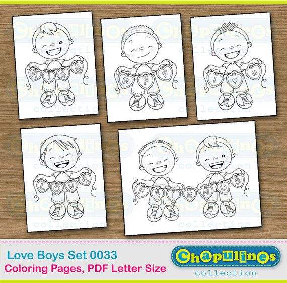 Coloring Pages Printable boys Love Friends Set 033 | Páginas para ...