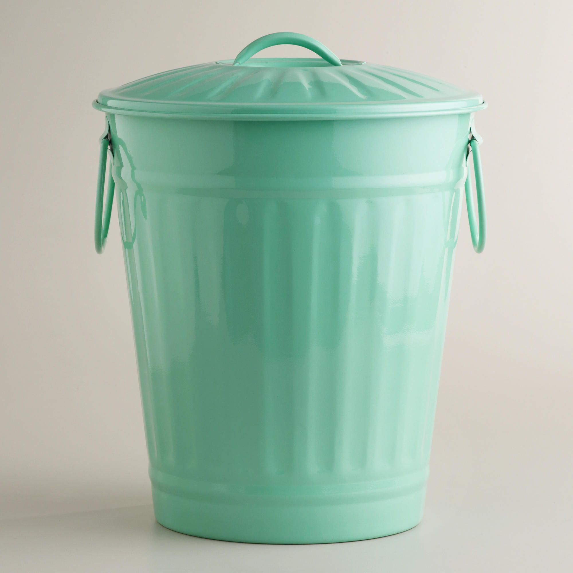 Mint Retro Galvanized Trash Can | World Market, $20...YES! THIS is ...