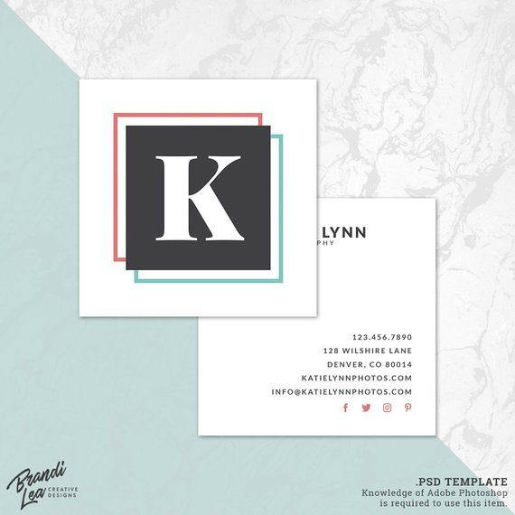 instant download square business card photoshop template photography business card template psd template calling card template bc29