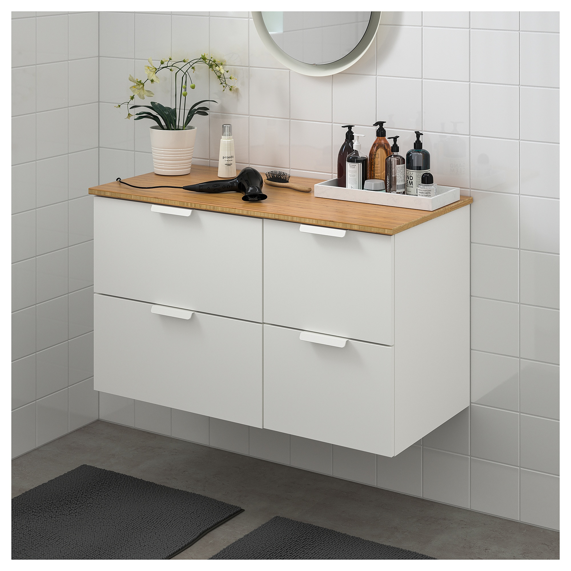 Godmorgon Tolken Waschbeckenschr 4 Schubl Weiss Bambus Ikea Ikea Godmorgon Und Waschbeckenschrank