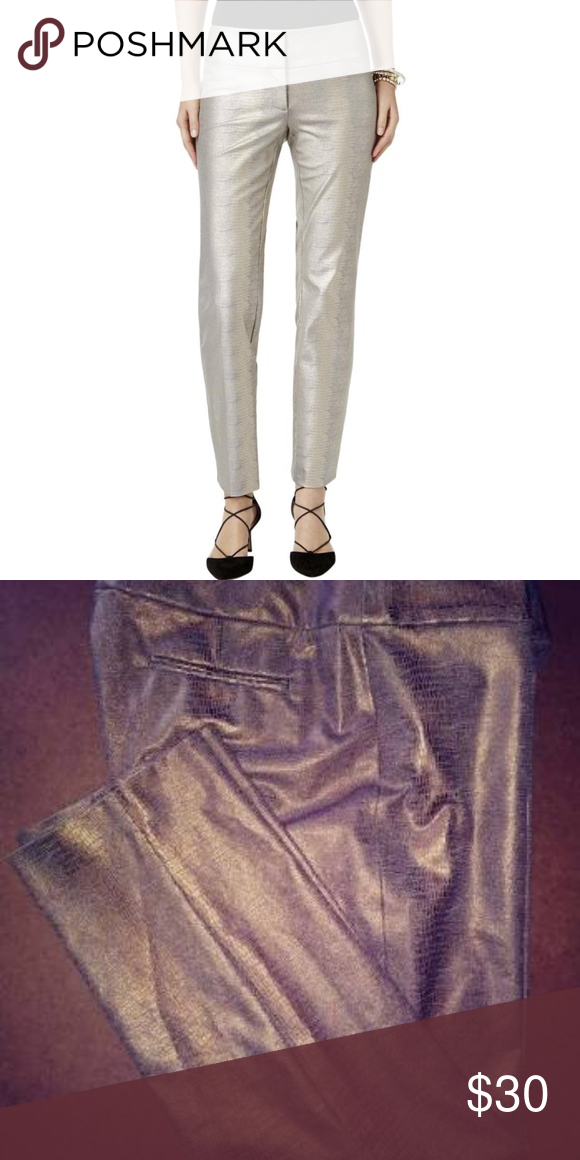 cd5d0f61186 Alfani Gold Snake Print Metallic Ankle Pants Size 2P Tommy Control Slimming  Fit Style Type