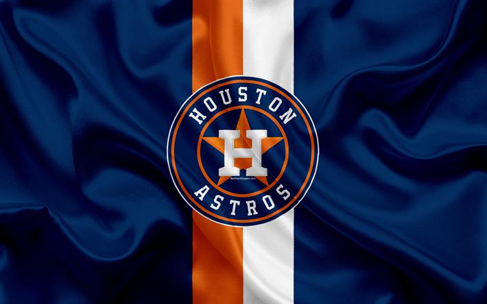 Download Wallpapers Houston Astros 4k Logo Silk Texture