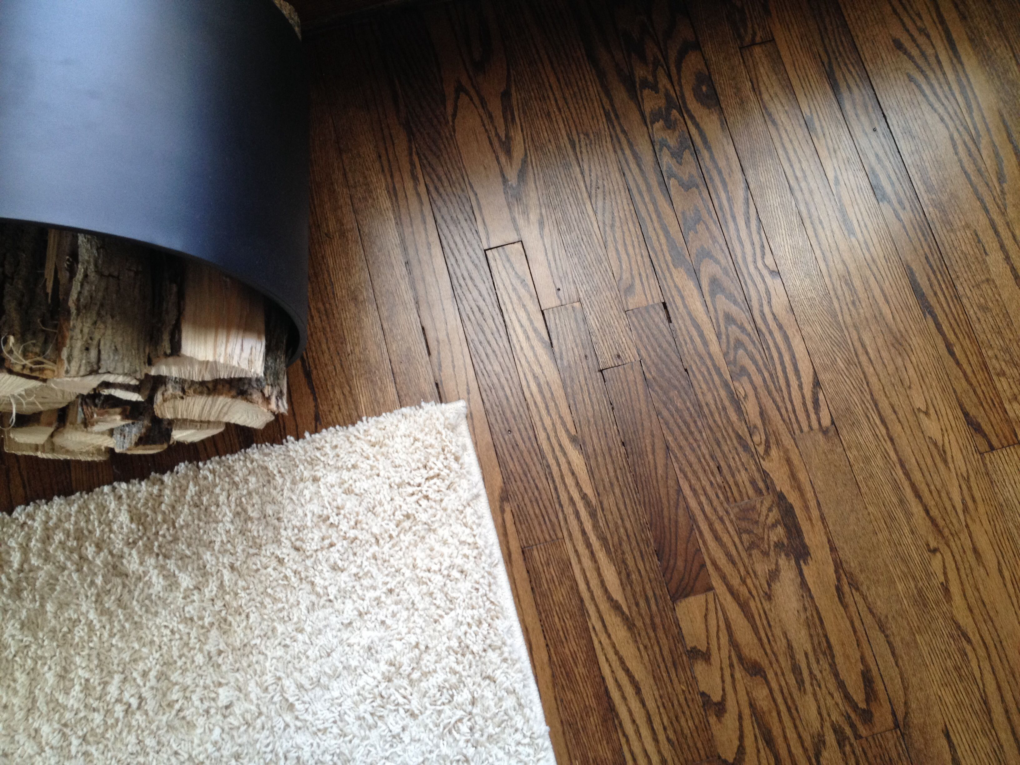 113 year old original oak floors Refinished in espresso stain