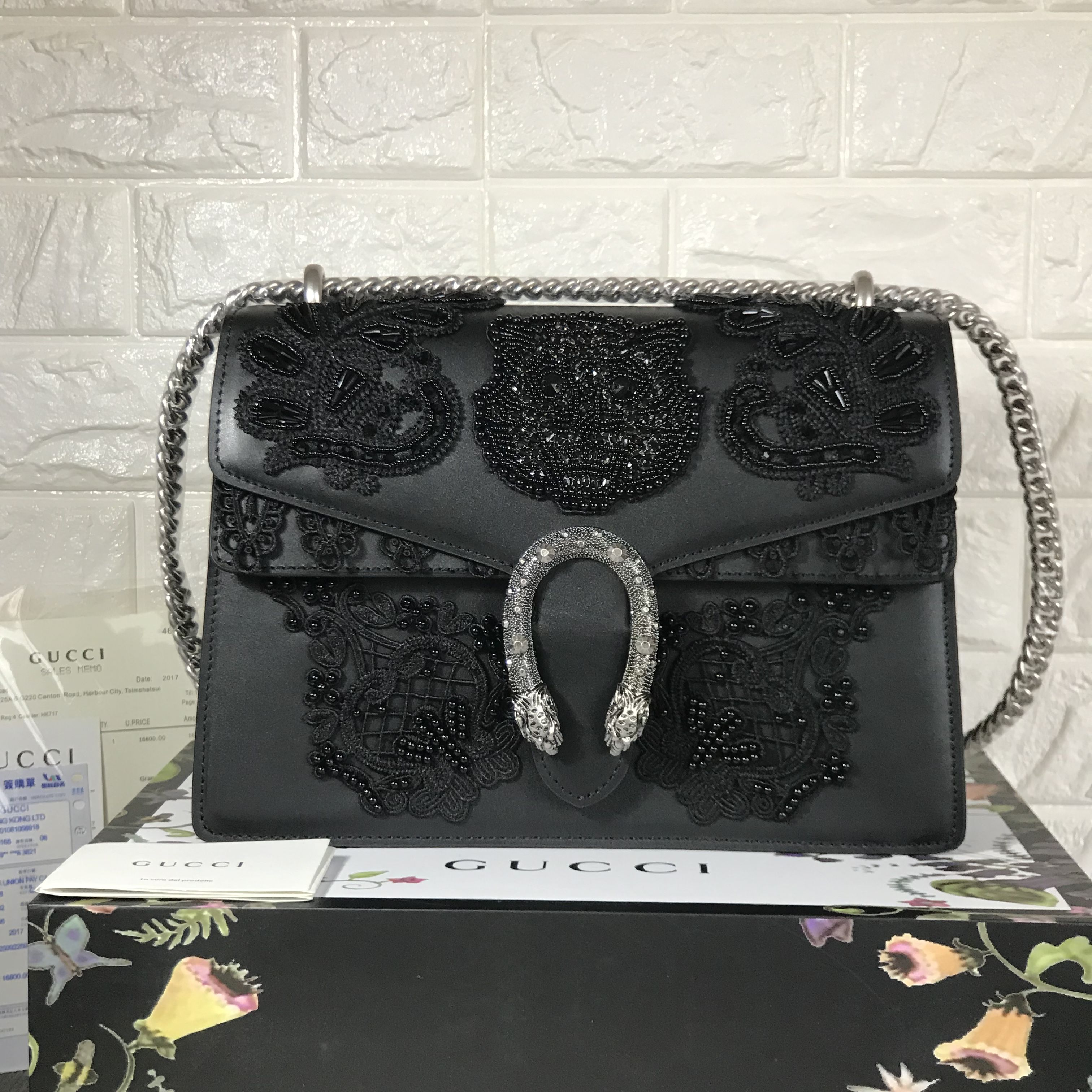 d87b22f3cad7 Gucci Dionysus bag medium 30cm with embroidered lace beads original leather  version