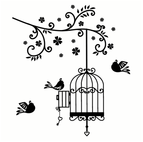 Bird Cage Wall Sticker Wall Art Quotes Birdcage Drawing Bird Drawings