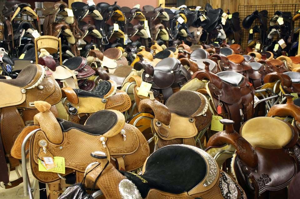 Saddles saddles everywhere! Is this a dream or is it real life?! Looks like horse world heaven