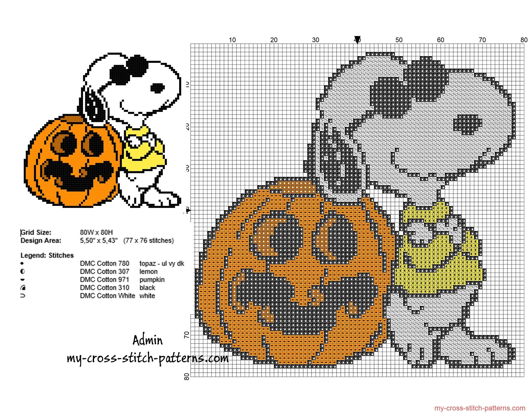 Halloween Snoopy With A Pumpkin Free Small Cross Stitch
