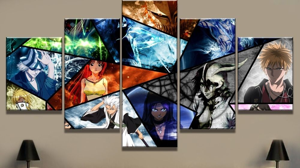 5 Piece Print Painting Bleach Character Cuadros Decoracion Paintings Price 11 00 Free Shipping Toys Bleach Characters Painting Decoracion